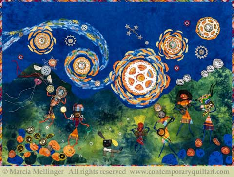 "Image of ""Time for Some Starry Night Music"" quilt by Marcia Mellinger"