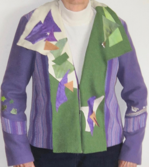 PurpleWhiteGreen in Asymmetry Jacket by Barbara J. O'Steen